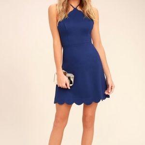 NWT Lulus Lush Blue scalloped mini dress